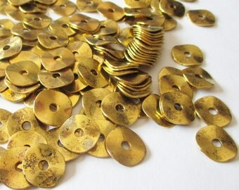 Gold Plated Spacer Beads - Wavy Disc Rondelle Spacer - Plain Metal Beads - Gold Bead Caps - Center Holed - Jewelry Findings - 14mm (40) pcs