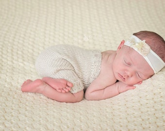 Knit Newborn Romper with Matching Bonnet - Simply Solids Romper - Knit Bonnet - Photography Prop
