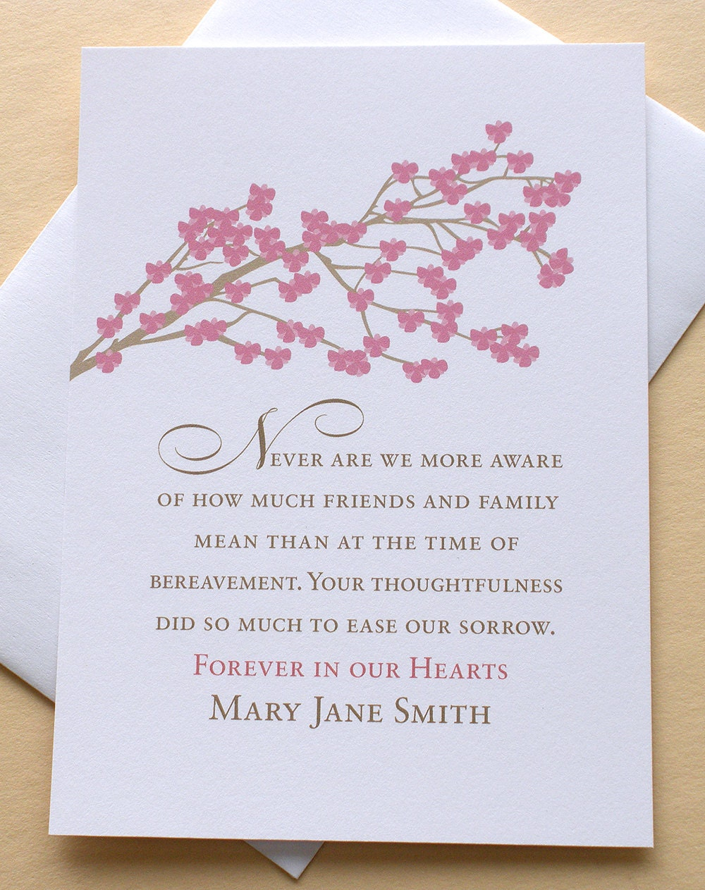 funeral thank you sympathy card with rose colored