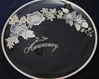 25th Anniversary Silver Overlay Glass Serving Tray  (1653)