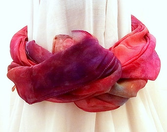 Hand dyed Silk Scarf, Square Silk Chiffon Scarf, 38 x 38 inches, Ready to Ship, Gift for Her, Made in Australia, SallyAnnesSilks on Etsy C16