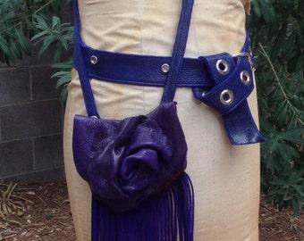 showdiva designs Leather Bag Purse Belt Interchangable LoNg FriNgE n Hand Sculpted Flower