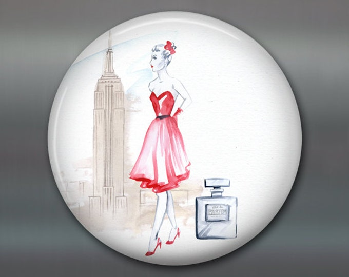 "3.5"" fashion art magnet, new york, broadway decor womens fashion magnet kitchen decor, house warming gift, big magnet for fridge MA-FASH-6"