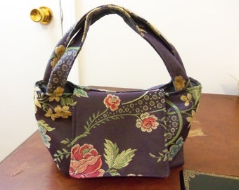 Purple Flowered Hand Bag