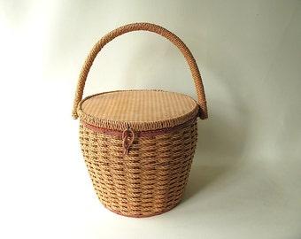 Vintage Sewing  Basket, Large, 70s, Dritz, round, Pink