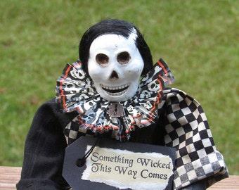 Skull Doll, Halloween Skeleton, Halloween Doll, Skeleton, Checks, Primitive Halloween, Halloween Decor, Black and White, Primitive Doll