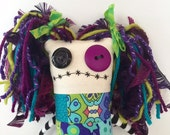 Handmade Woodstock Zombie Quilter Pincushion Doll