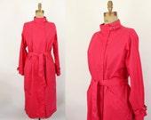red trench coat - 80s jacket - Rodier Paris - fall spring rain- medium large