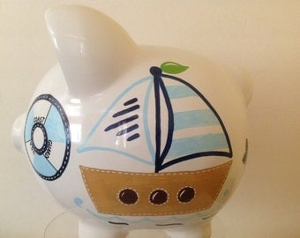 Personalized Large piggy Bank light / Navy blue Nautical, Anchor, Sailboat Newborn, Baby Shower, Ring Bearer, Flower Girl, Christening Gift