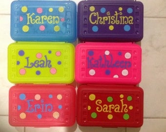 Personalized  polka dot pencil case, art, crayon box- perfect kids party favor -monograms or full name