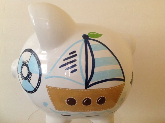 Personalized large piggy bank light navy blue nautical - Nautical piggy banks ...
