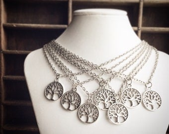 100 Tree Necklaces / Wholesale Lot Handmade Necklaces / Antique Silver / Retail Resale Shop / Quantity Gift Pendant Jewelry Tree of Life