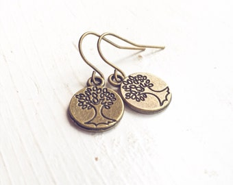 Tree Earrings / Tree of Life Disks Pierced Dangly Boho Bohemian Little Nature Lover Hippie Bridesmaids Bridal Party Favors Gifts Wedding