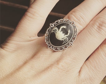 Zodiac Cameo Ring Cancer / Adjustable Steampunk Victorian Astrological Sign Astrology Ring