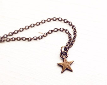 Tiny Star Pendant Necklace in Antique Brass / Choose your length