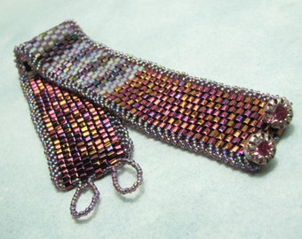 Beadwork Bracelet - Cuff - Shades of Raspberry and Purple - Vintage Crystal Button Clasp - SRAJD