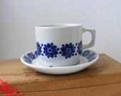 Figgjo Flint Norway Blue Vitro Porselen Porcelain Cup and Saucer