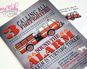 Sound the Alarm! Fire Truck Birthday Party Invitation