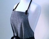 Full Apron Woman Indigo  Chambray Work Craft Kitchen