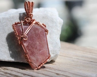 Wire Wrapped Jewelry Handmade Red Aventurine - Woven wire - Stone Necklace - Pendant - Wire Wrap Jewelry - Wire Wrap Pendant - Earthy