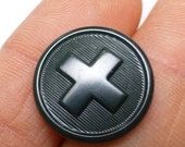 Swiss Army Button Vintage Switzerland Military Charcoal Grey Round Cross Rare Issue Loop Sewing DiY Bakelite Purse Repair Projects Unique