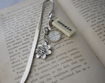 COUSIN Bookmark Personalized with Mini Domino silver-tone charm dictionary glass gem charm Kristin Victoria Designs Personalized Cousin Gift