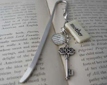 MOTHER Bookmark Personalized with Mini Domino silver-tone charm dictionary glass gem charm Kristin Victoria Designs Mom Personalized Gift