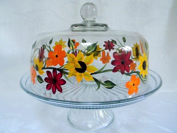 cake dish-painted Cake dish-covered cake dish-painted punch bowl