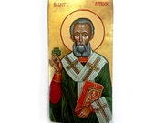 Saint Patrick with shamrock, handpainted icon original, 11x6 inches