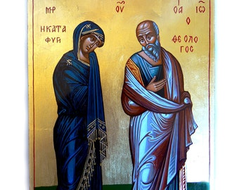 The Virgin With St. John The Theologian, Theotokos Katafigi original icon, 12 x8 inches