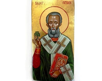 Saint Patrick with shamrock, handpainted icon original, 11x6 inches- MADE TO ORDER