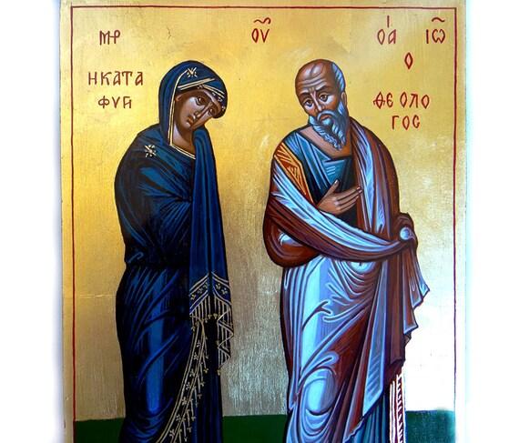 The Virgin With St. John The Theologian, Theotokos Katafigi original icon, 12 x8 inches