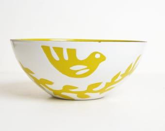 Vintage 60s HANOVA of PASADENA Dove Bowl / 1960s Olive Green & White Enamel Mixing Bowl by Charles Chaney