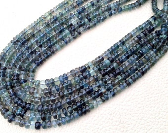RARE New Arrival,5-6mm Size,Rare Natural MOSS AQUAMARINE Smooth Rondelles,Full 14 Inch Long Strand Rare Color.