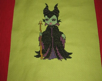 Little Green Witch Finished Cross Stitch