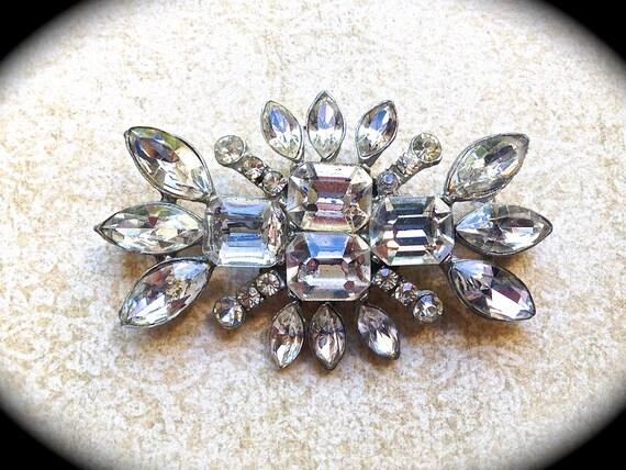 Bridal Rhinestone Brooch~ Bridal Pin~ Authentic Vintage - Crystal Rhinestone Brooch -- Art Deco Brooch - Vintage Jewelry- Wedding Jewelry