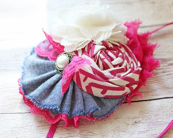 Berry Picking- yellow and denim silk flower, chiffon flower and ruffle headband