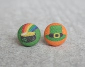 Happy Saint Patrick's Day Fabric Button Earrings