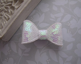 White Sequin Bow . boutique clippie . girls hair accessory