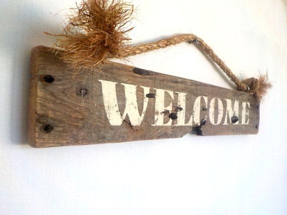 Welcome sign wood welcome sign rustic wood signs front door - Wooden door signs for home ...