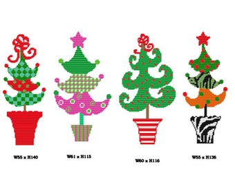 Plastic Canvas Whimsical Christmas Trees Instant Download