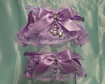 Lavender Disney Inspired Mickey & Minnie Mouse Wedding Garter Set