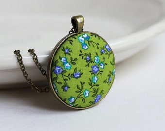 Bright Green Pendant, Floral Fabric Pendant, Cute Jewelry, Chartreuse Necklace, Purple, Blue Green Necklace, Hippie Bohemian Bridesmaid