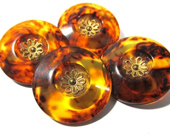 Faux Tortoise Shell Bakelite Buttons VINTAGE Bakelite Matching Buttons Four (4) Tortoise Shell Look Buttons Vintage Jewelry Supplies (G129)