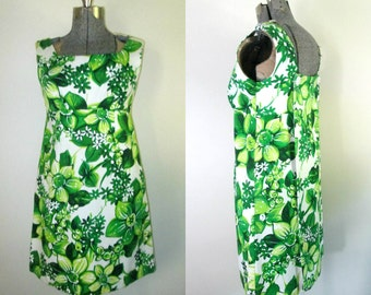 1960s Hawaiian Dress Detachable Train Knee Length Mini Empire Waist A Line Hanakahi of Hawaii