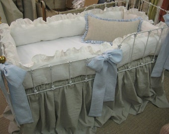 Washed Linen Nursery-- Bumpers-Crib Skirt-Sash Ties-Crib Pillow--Linen Color Mix of Vintage White-Little Boy Blue and Lightweight Oatmeal