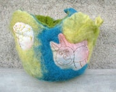 Embroidered piggy and sun,felted bowl,wool basket,room decor, fiber art.