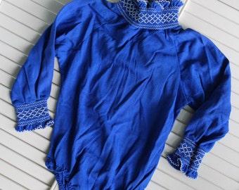 Little Girls turtleneck bodysuit, vintage blue turtleneck, smocked neck and sleeve, size 6x, vintage kids clothes, retro clothes for kids