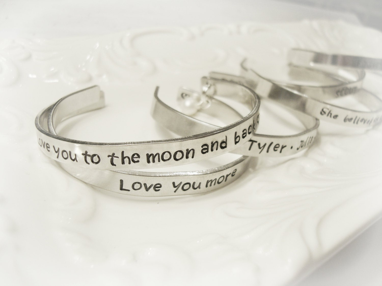 Customized Personalized Hand Stamped Mantra Band Style Bracelet