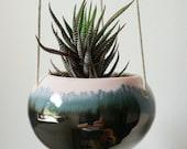 Hanging ceramic planter in pink blush, pale blue and metallic pewter.   Succulent planter. Handmade ceramics.  Wheel thrown.